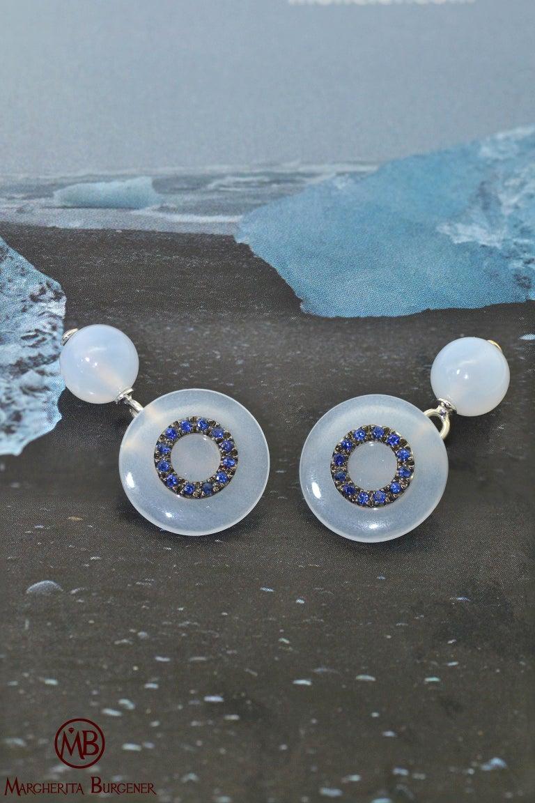 Women's or Men's Chalcedony Blue Sapphires 18 KT White Gold  Cufflinks For Sale