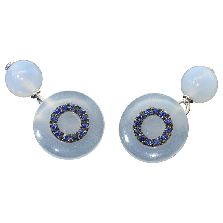 Chalcedony Blue Sapphires 18 KT White Gold  Cufflinks For Sale