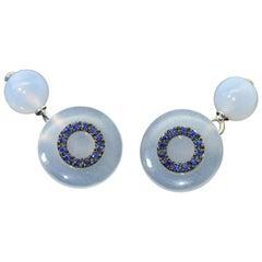 Chalcedony Blue Sapphires 18 Karat White Gold Cufflinks