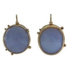 Chalcedony Cabochons 22 Karat Gold Drop Earrings, Handmade Modern Jewelry