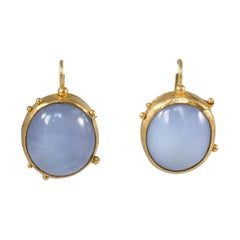 Chalcedony Cabochons 22 Karat Gold Drop Earrings, Handmade Modern Jewelry