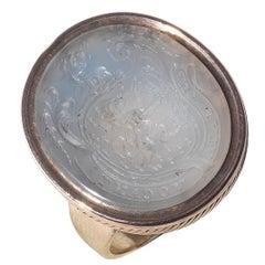 1830s Georgian Chalcedony Crest Intaglio Ring