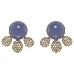"Chalcedony and Diamond ""Golden Hour"" Earrings"