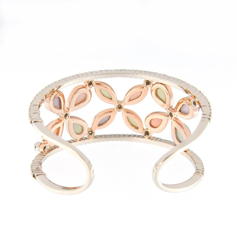 Contemporary Chalcedony Diamond Wide Cuff Gold Bracelet For Sale