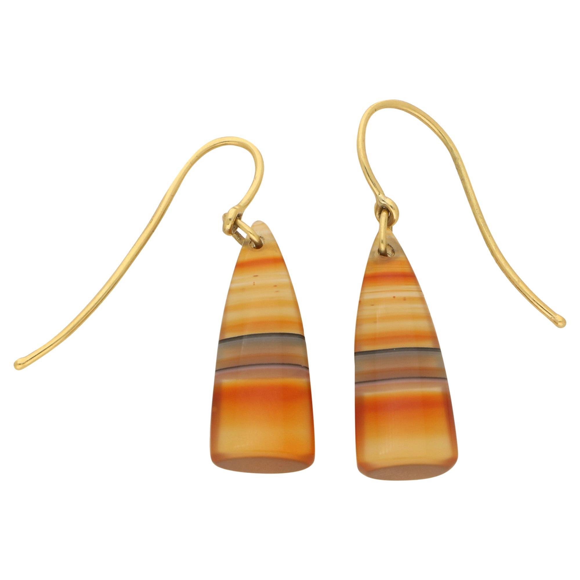 Chalcedony Drop Earrings in 9 Carat Yellow Gold