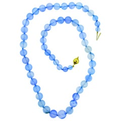 Chalcedony Necklace with 18 Karat Gold Clasp, by Pierre/Famille, Inc