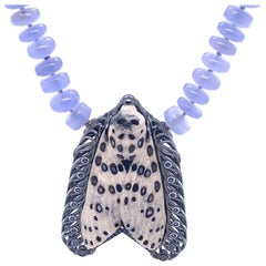 Chalcedony Necklace with a White Agate Carved Moth Clasp and Brooch
