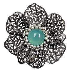 Chalcedony Pearls Sterling Silver Rhodium Textured Brooch Pendant Headpiece