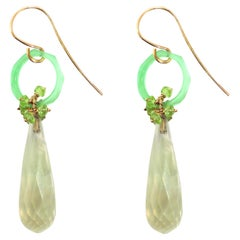 Chalcedony Peridot Rose Gold Earrings Handcrafted in Italy by Botta Gioielli