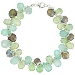 Chalcedony, Prehnite, Labradorite Sterling Watercolors Bracelet
