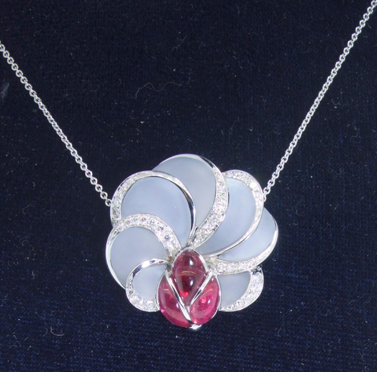 Chalcedony, Rubellite and Diamond Floral Motif Necklace In Excellent Condition For Sale In Aspen, CO