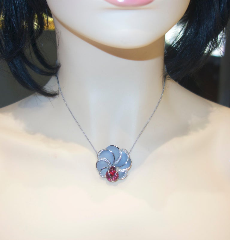 Chalcedony, Rubellite and Diamond Floral Motif Necklace For Sale 1