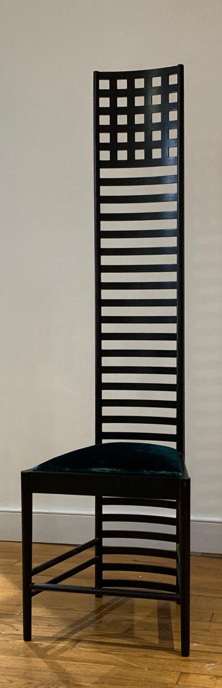 Italian Chales Rennie Mackintosh Cassina Silk Velvet 292 Hill House 1 Chair Italy 1960s
