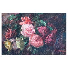 """Chaleye Jean '1878-1960' """"Bouquet of roses"""" Oil on Panel"""
