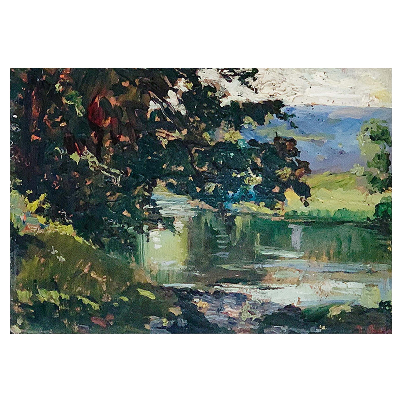 """Chaleye Jean """"Lake landscape"""" Panel"""