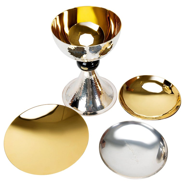 Chalice Set in Sterling Silver and Gold-Plated For Sale