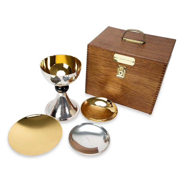 This Chalice Set comes with 3 Patens in sterling silver & gold plated. Comes with wooden box.