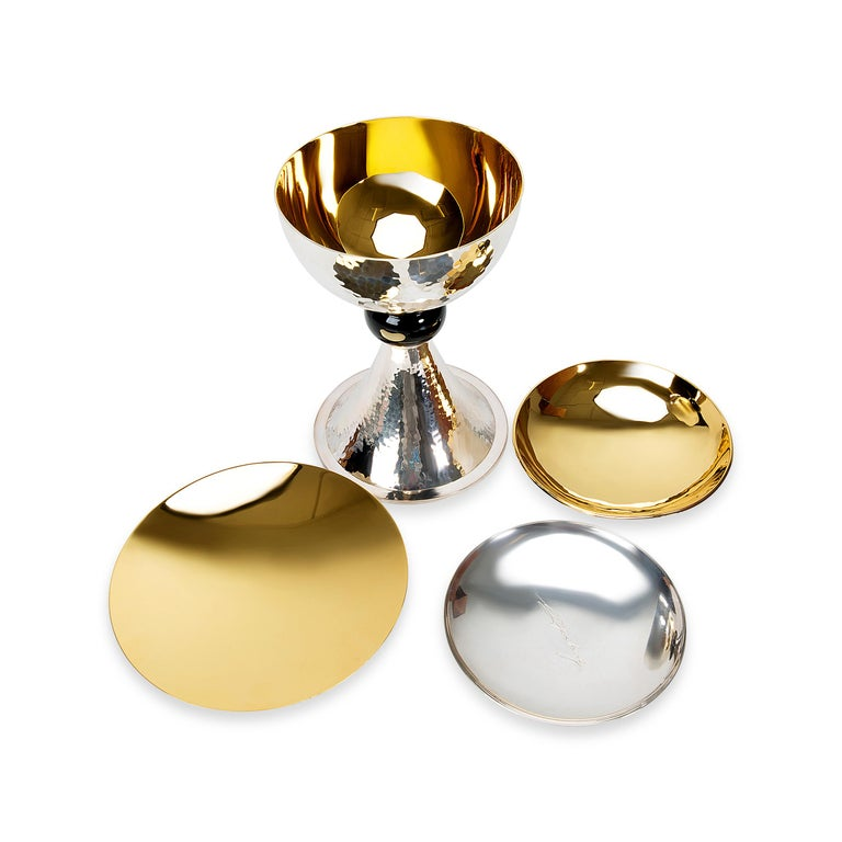 Women's or Men's Chalice Set in Sterling Silver and Gold-Plated For Sale