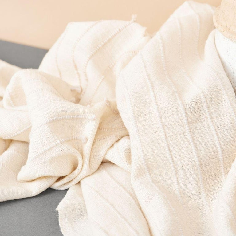 Chalk Handloom White Merino  Organic Cotton Throw in Hand Knotted Stripes Design For Sale 10