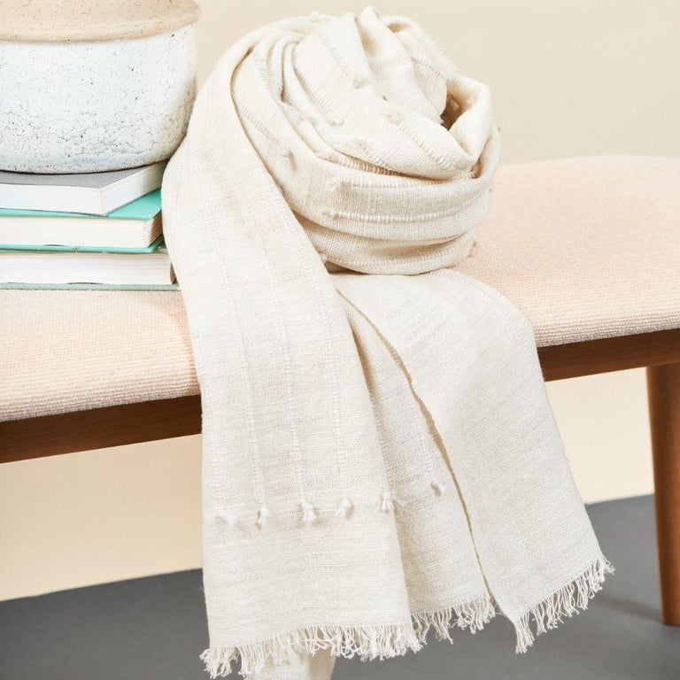 Chalk Handloom White Merino  Organic Cotton Throw in Hand Knotted Stripes Design For Sale 11