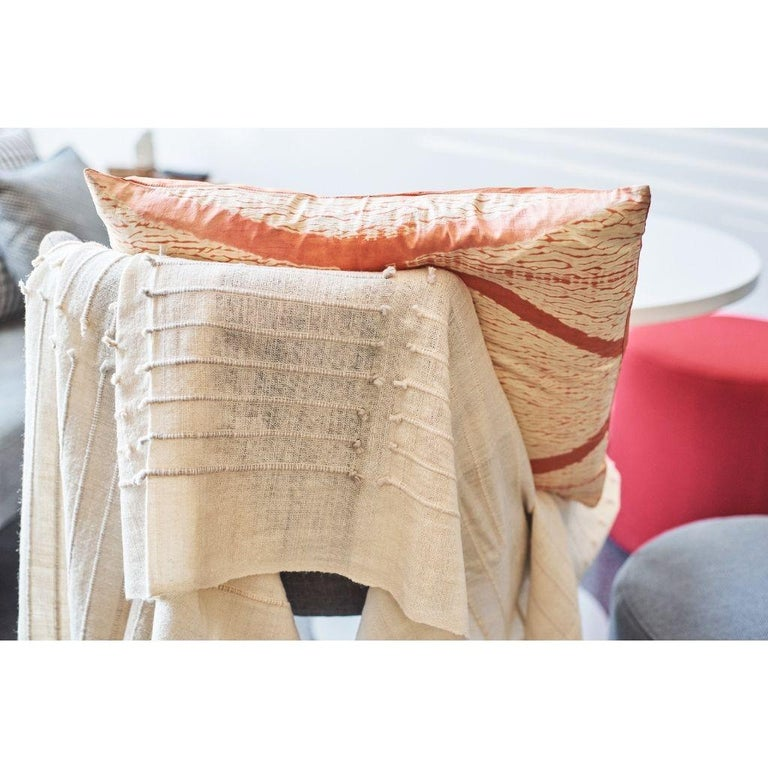 Chalk Handloom White Merino  Organic Cotton Throw in Hand Knotted Stripes Design For Sale 4