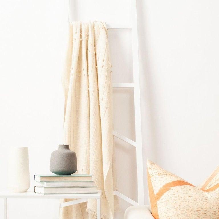 Modern Chalk Handloom White Merino  Organic Cotton Throw in Hand Knotted Stripes Design For Sale
