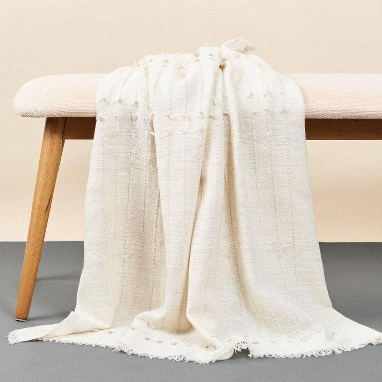 Contemporary Chalk Handloom White Merino  Organic Cotton Throw in Hand Knotted Stripes Design For Sale