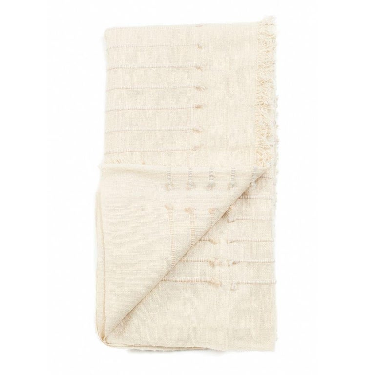 Chalk Handloom White Merino  Organic Cotton Throw in Hand Knotted Stripes Design For Sale 3