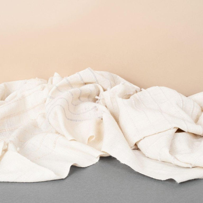 Chalk Handloom White Merino  Organic Cotton Throw in Hand Knotted Stripes Design For Sale 5