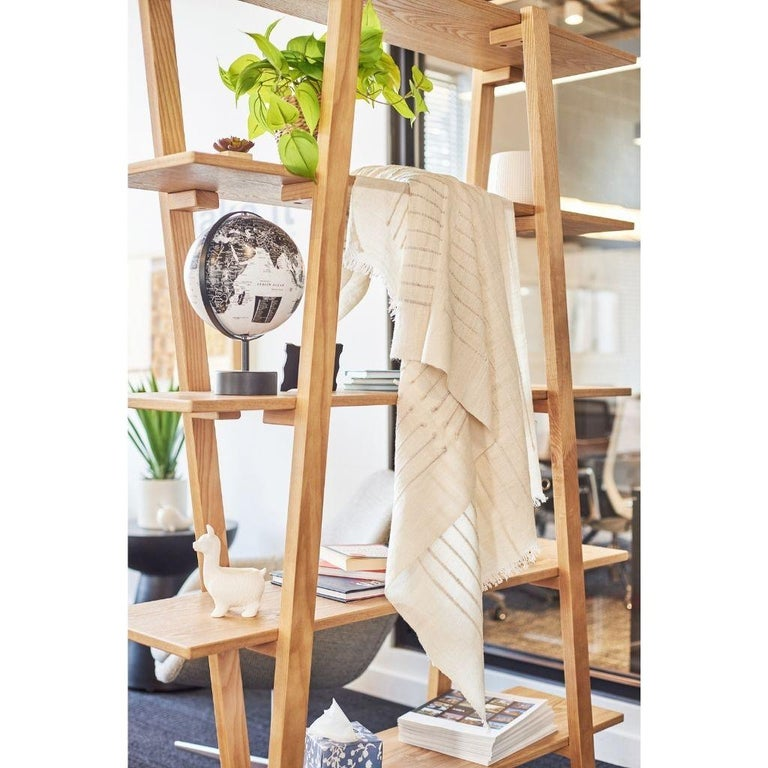 Hand-Woven Chalk Handloom White Merino  Organic Cotton Throw in Hand Knotted Stripes Design For Sale