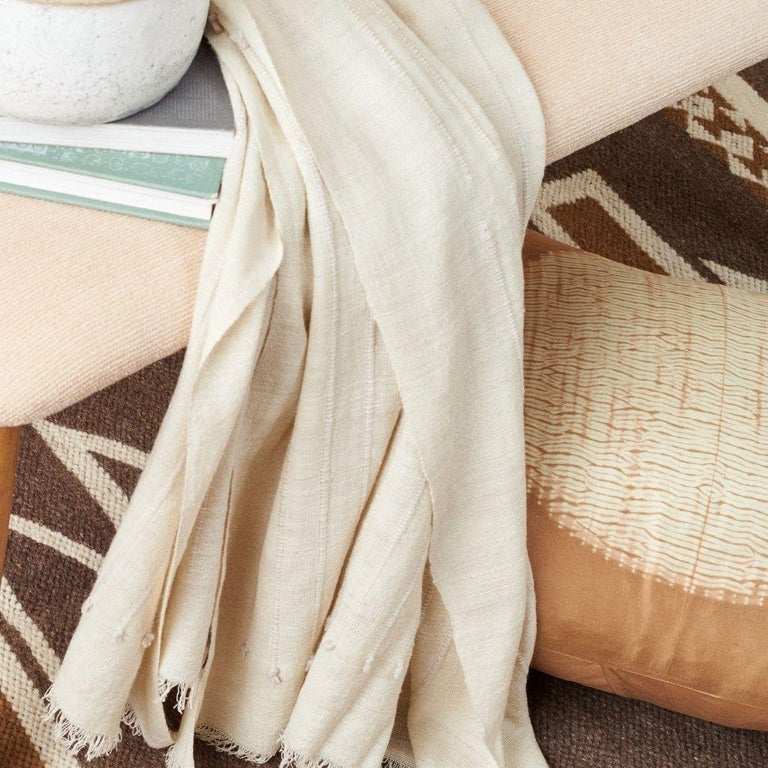 Chalk Handloom White Merino  Organic Cotton Throw in Hand Knotted Stripes Design For Sale 6