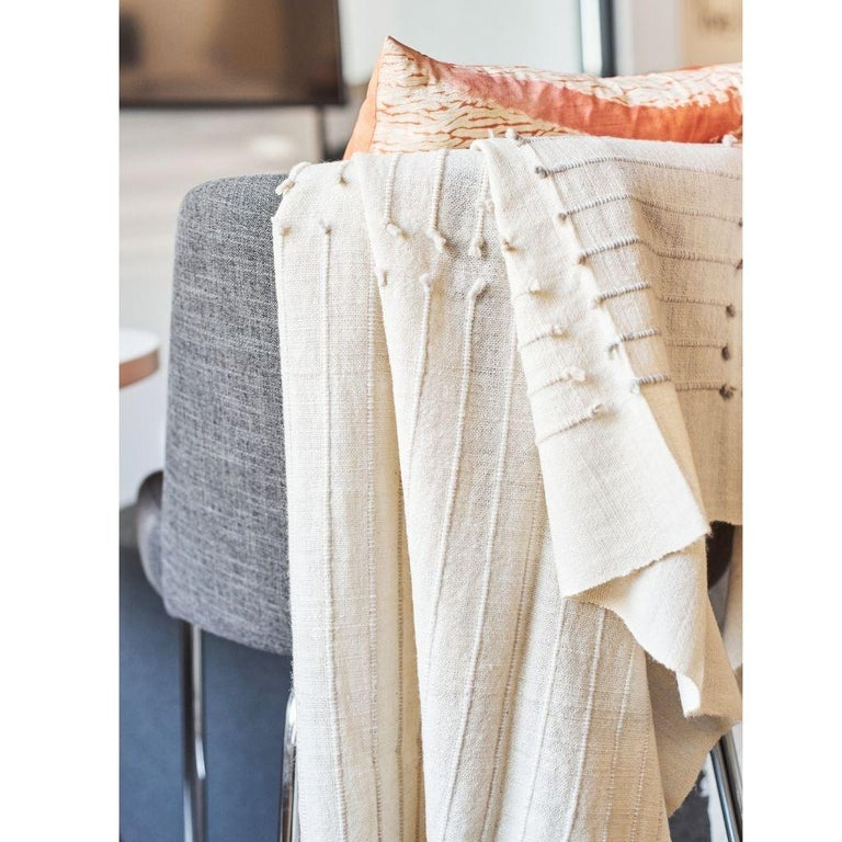 Chalk Handloom White Merino  Organic Cotton Throw in Hand Knotted Stripes Design In New Condition For Sale In Bloomfield Hills, MI