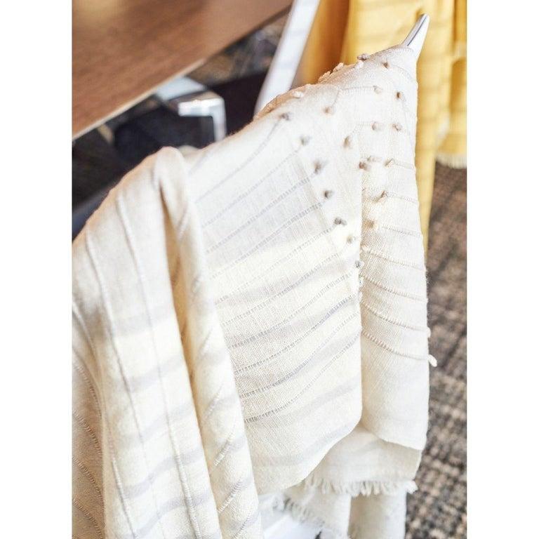 Yarn Chalk Handloom White Merino  Organic Cotton Throw in Hand Knotted Stripes Design For Sale