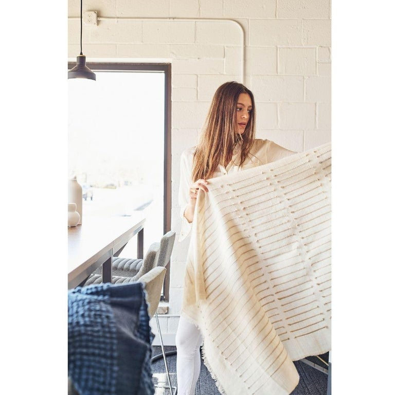 Chalk Handloom White Merino  Organic Cotton Throw in Hand Knotted Stripes Design For Sale 1