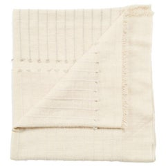 Chalk Handloom White Merino Organic Cotton Throw in Hand Knotted Stripes Design