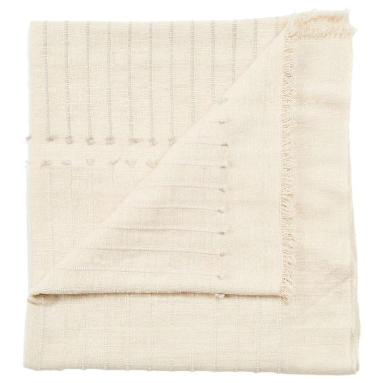 Chalk Handloom White Merino  Organic Cotton Throw in Hand Knotted Stripes Design For Sale