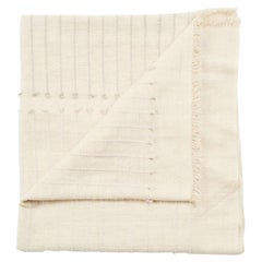 Chalk Handloom White Quee Size Bedspread Coverlet in Hand Knotted Stripes Design