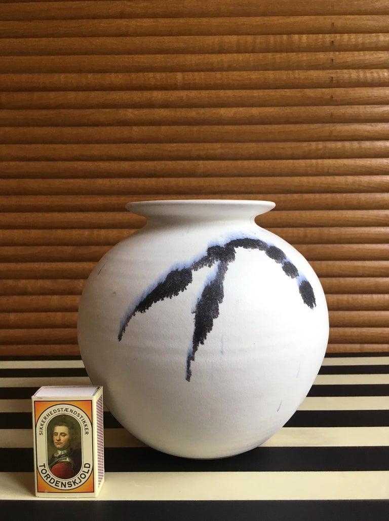 Scandinavian Modern Chalk White Danish Modern Ceramic Vase by Karsten Nielsen, 1980s