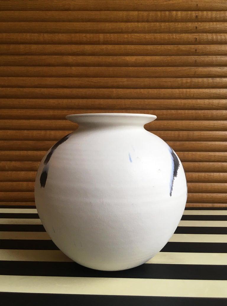 Late 20th Century Chalk White Danish Modern Ceramic Vase by Karsten Nielsen, 1980s