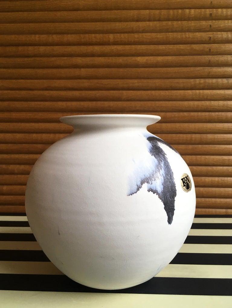 Chalk White Danish Modern Ceramic Vase by Karsten Nielsen, 1980s 1