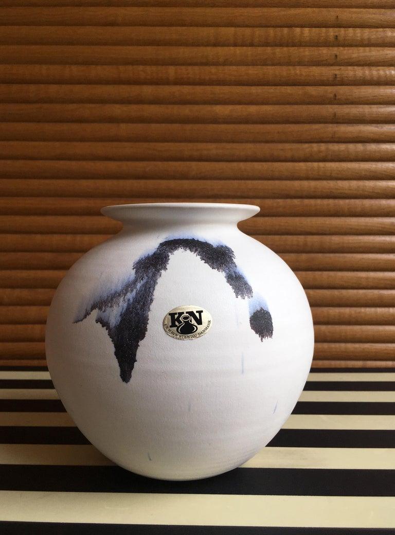 Chalk White Danish Modern Ceramic Vase by Karsten Nielsen, 1980s 2