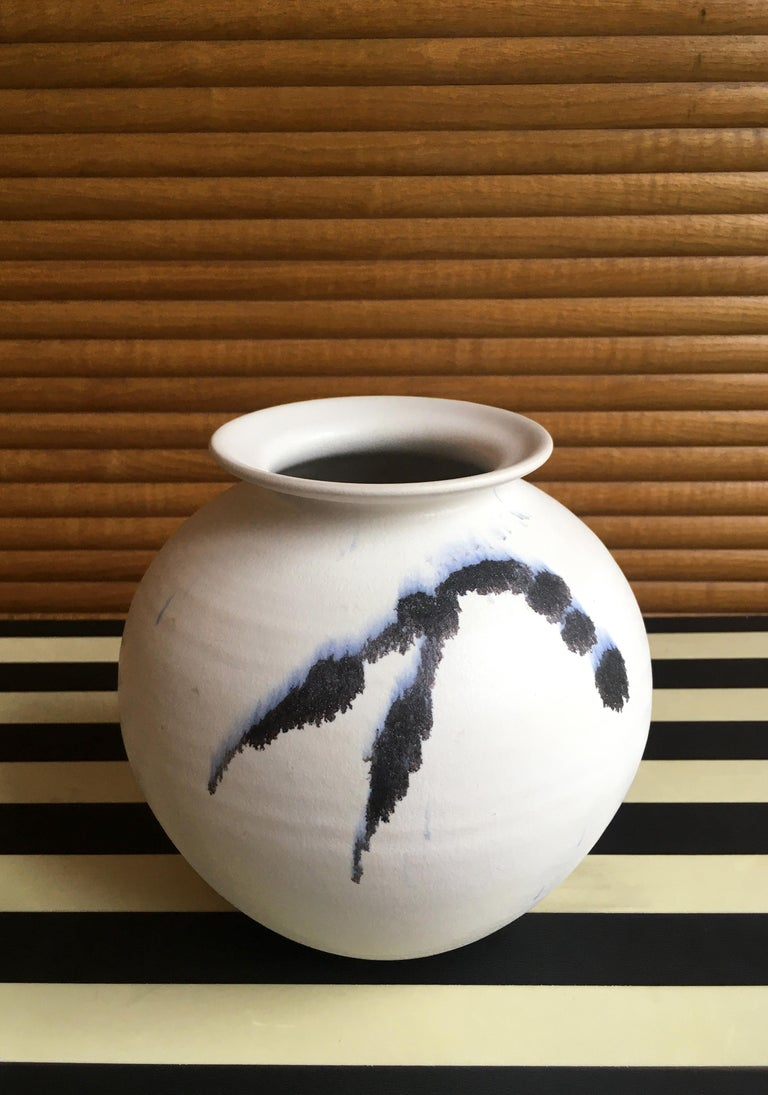 Chalk White Danish Modern Ceramic Vase by Karsten Nielsen, 1980s 4