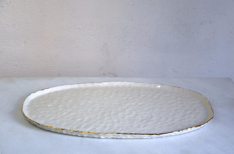 Modern Challah Plate by Isabel Halley, White Porcelain with 22-Karat Gold Luster For Sale