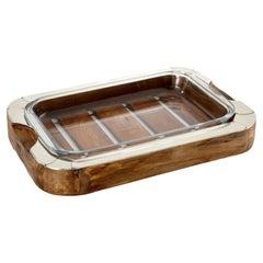 Chalten Large Rectangular Wood & Alpaca Silver Oven Tray