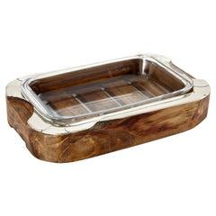 Chalten Medium Rectangular Wood & Alpaca Silver Oven Tray