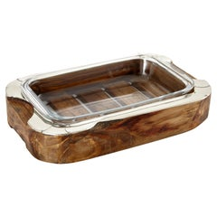 CHALTEN Mini Rectangular Wood & Alpaca Silver Oven Tray
