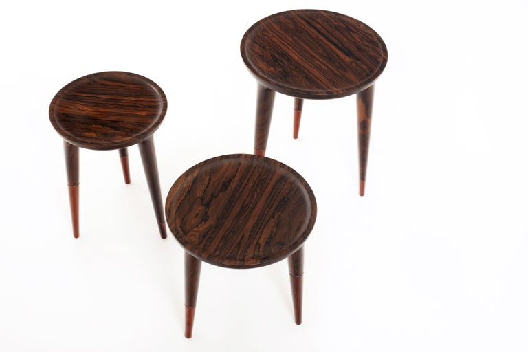 Mexican Chamak Tropical Wood Side Tables Set For Sale