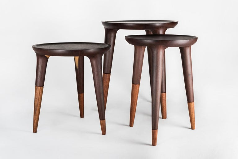 Turned Chamak Tropical Wood Side Tables Set For Sale