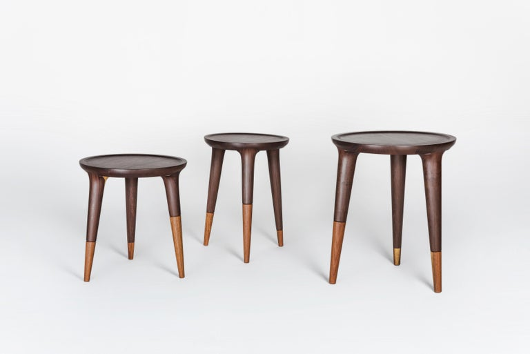 Contemporary Chamak Tropical Wood Side Tables Set For Sale