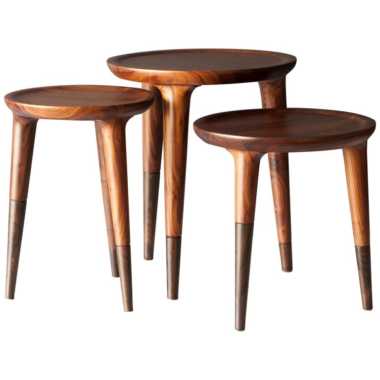Chamak Tropical Wood Side Tables Set For Sale